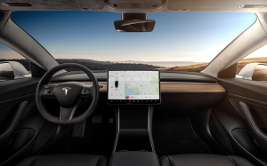 tesla model 3 interior dashboard head on