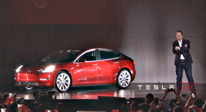elon musk handover event red production model 3