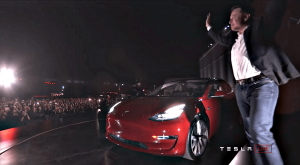 tesla ceo elon musk handover event red production model 3